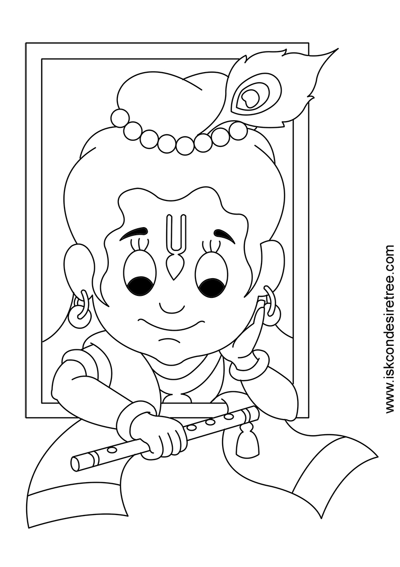 krishna coloring page az pages fullsize image gallery iskcon desire tree - Baby Krishna Images Coloring Pages